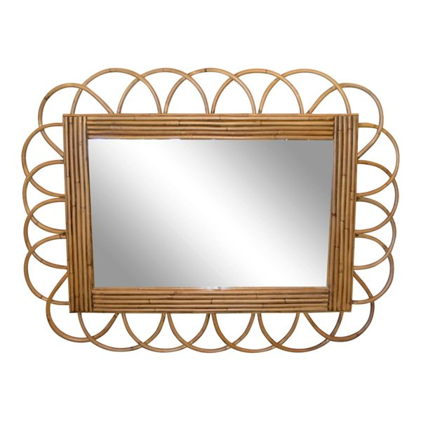 Mid-Century Modern Rattan and Bamboo Wall Mirror