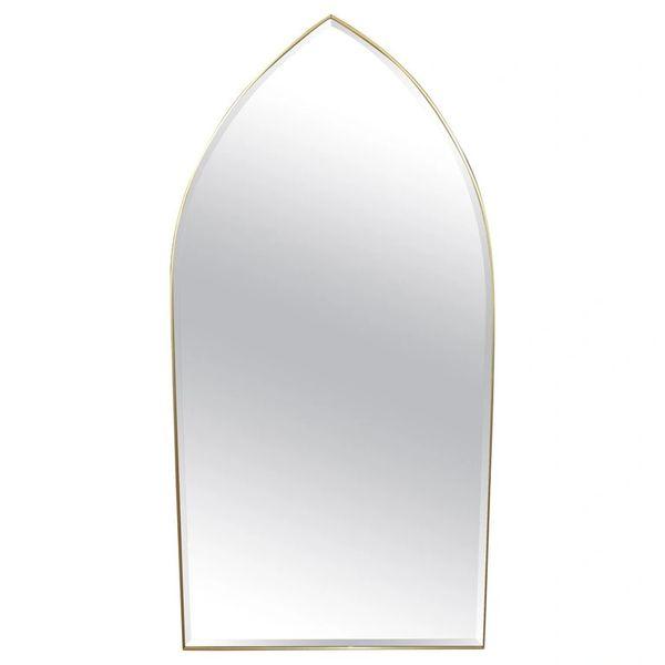 Italian Gothic Arch Brass Wall Mirror Hollywood Regency