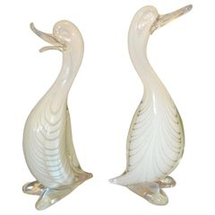 Pair of Stylized Murano Art Glass Ducks Attributed to Archimede Seguso Italy