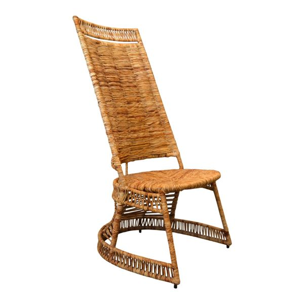 Vintage Entirely Hand-Woven Sculptural Cane & Rattan Side Chair With Rush Seat
