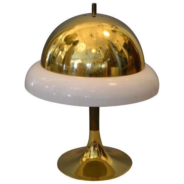 1950s Mid-Century Modern Italian Brass & Plastic Table Lamp