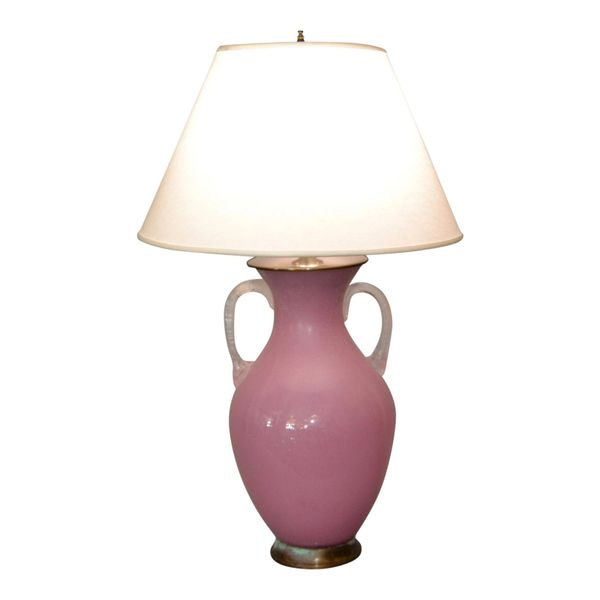 Mid-Century Modern Scavo Glass Handled Pink and Clear Table Lamp by Chapman