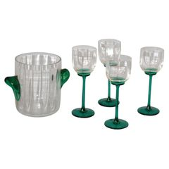 Vintage Icet Arte Murano Clear & Green Wine Glasses with Wine Cooler - Set of 5