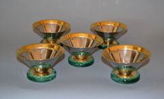 Art Deco Ice Cream Cups Signed Gottinghen 18-10 Design F. Tibaldo - Set of 5