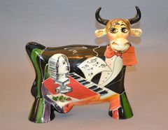 Hand Painted Turov ART Ceramic Cow Figurine, Decorative Collectibles, Russia