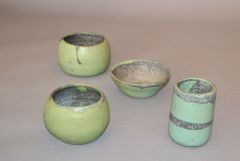 Vintage Handcrafted Aztec Green & Gray Pottery Bowls / Vessel - Set of 4