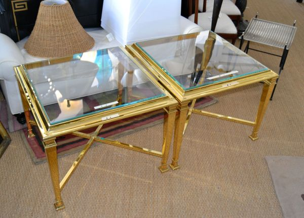 Hollywood Regency French Maison Jansen Brass Tables with Glass Tops - Pair