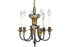 Petite Bronze Chandelier from France 1930's