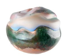 Mid-Century Modern Large Spherical Drip Glazed Art Pottery in Green, White, Pink