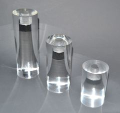Mid-Century Modern Lucite Round Candle Holders, Set of 3