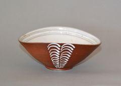 Vintage Scandinavian Modern Art Pottery Decorative Bowl in Brown & White Norway