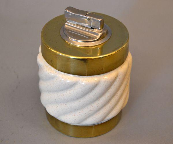 Mid-Century Modern Tommaso Barbi Beige Ceramic & Brass Lighter Italy, Signed