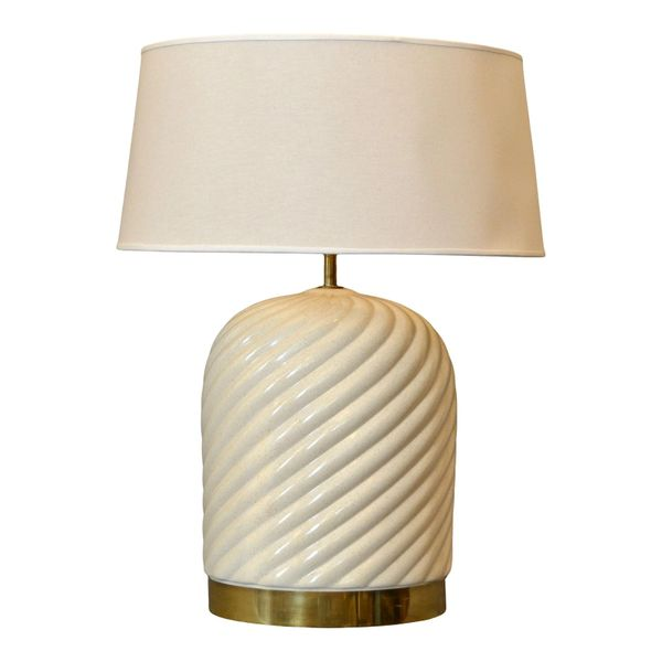 Mid-Century Modern Ceramic & Brass Table Lamp by Tommaso Barbi, Italy