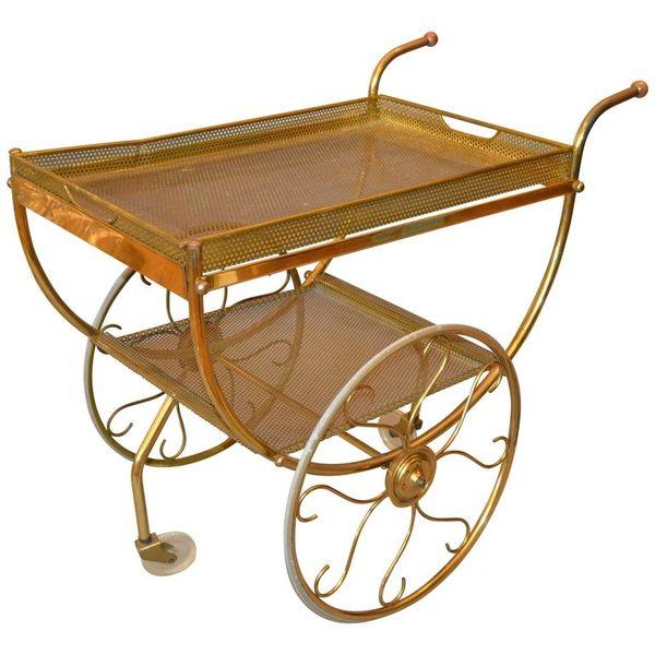 Scandinavian Modern Brass, Acrylic Bar Cart Josef Frank for Svenskt Tenn, Sweden