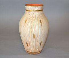 Mid-Century Modern Gold Leaf & Beige Hand-Crafted Italian Ceramic Glazed Vase