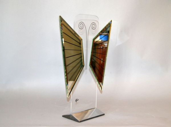 Jon Gilmore Mid-Century Modern Art Mirror in Chrome & Lucite Shaped Butterfly