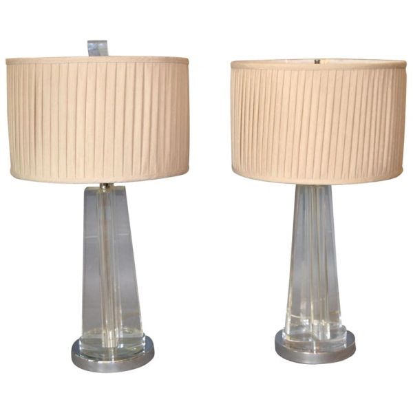 Mid-Century Modern Cross Crystal & Chrome Table Lamps with Plisse Shades - Pair