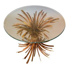 Coco Chanel Style Coffee Table Gilt Iron Sheaf of Wheat