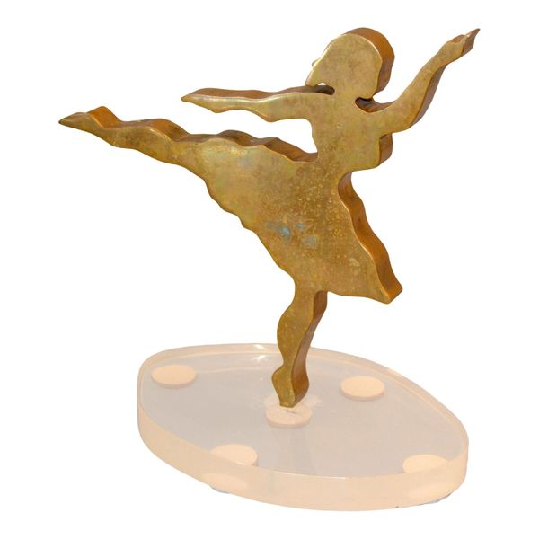Signed Mid-Century Modern Solid Bronze Ballerina Dancer Sculpture Lucite Base