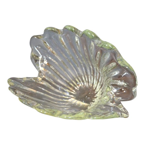 Archimede Seguso Hand Blown Clear Murano Glass Clam Shell Centerpiece, Italy