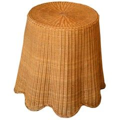 Mid-Century Modern Round Hand-Woven Rattan / Wicker Coffee Table, Side Table