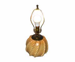 S. Hanson Mid-Century Modern Beige & Black Glazed Pottery Earthenware Table Lamp