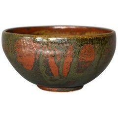 Vintage Scandinavian Modern Art Pottery Ceramic Decorative Bowl Brown & Bronze