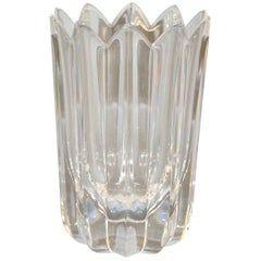 Orrefors Scandinavian Modern Lead Crystal Clear Fleur Vase Jan Johansson Sweden
