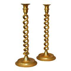 British Mid-Century Modern Spiral Bronze Candlesticks Made in England, Pair