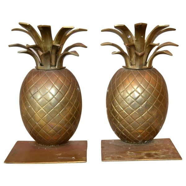 Mid-Century Modern Handcrafted Bronze Pineapple Bookends