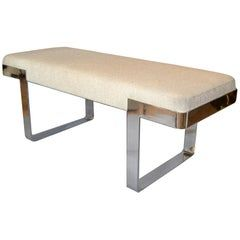1 of 2 Milo Baughman Benches Linen Fabric in Beige on Steel Base, Pace Collection