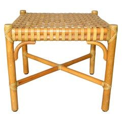 McGuire Mid-Century Modern Bamboo and Hand-Woven Leather Top Side Table, Stool
