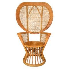 Vintage Boho Chic Handcrafted Wicker, Rattan and Reed Peacock High Back Chair