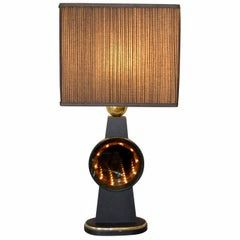 Mid-Century Modern Tall Brass, Glass, Wood Infinity Table Lamp in Black & Gold