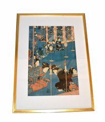Gilt Framed Utagawa Kuniyoshi Japanese Original Woodcut Print on Paper 1845