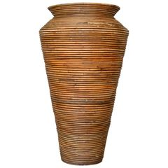 Bohemian Pencil Reed Bamboo Handcrafted Tall Cone Shape Floor Vase