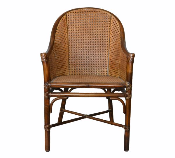 McGuire Mid-Century Modern Bamboo & Cane Armchair Leather Bindings, Desk Chair