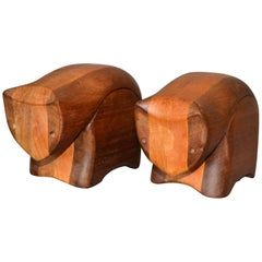 Handcrafted 'Creative Critters' Animal Figurine Jewelry Box Tropical Wood, Pair