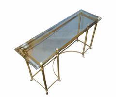Hollywood Regency Labarge Brass & Beveled Glass Console, Sofa Table Hoof Feet