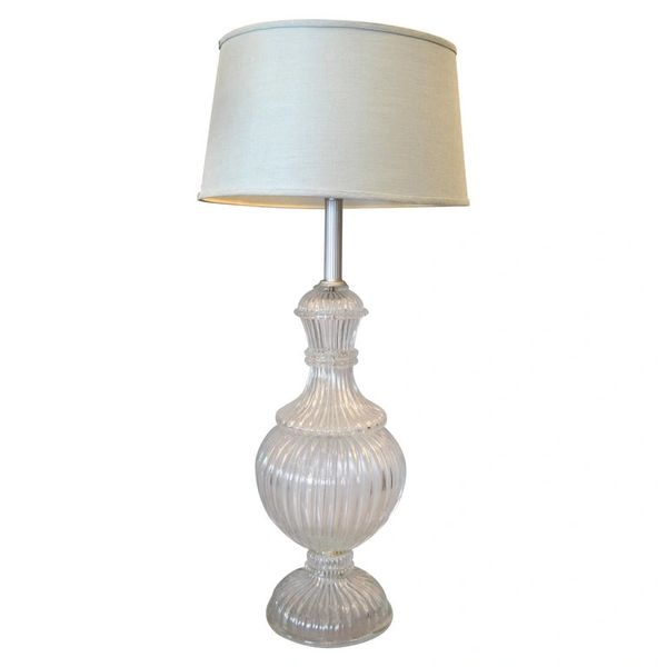 Italian Tall Clear Hand-Blown Ribbed Murano Glass & Aluminum Neck Table Lamp