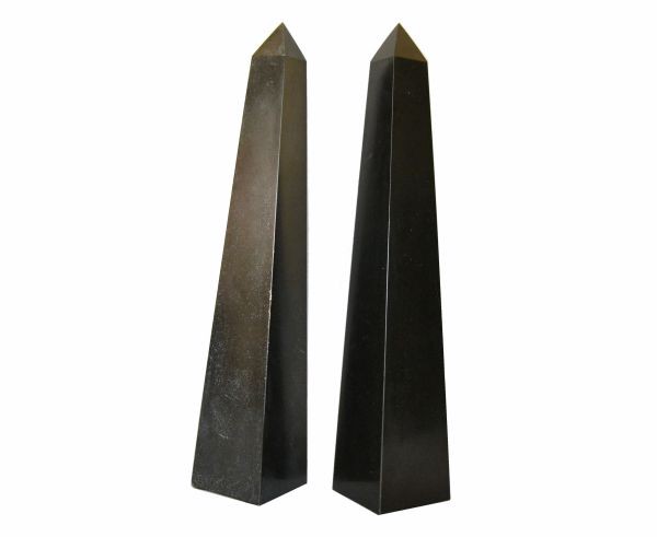 Pair of Mid-Century Modern Black Marble Obelisks