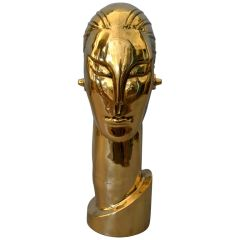 Art Deco Style Hagenauer Manner Bronze Bust, Figurative Sculpture Elongated Neck
