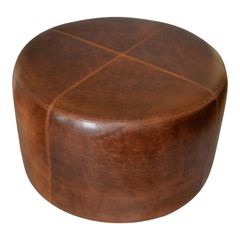 Modern Round Hand-Crafted Leather Ottoman, Pouf in Antique Leather, Contemporary
