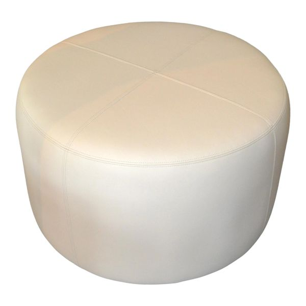 Modern Round Hand-Crafted Leather Ottoman, Pouf in Beige Leather, Contemporary