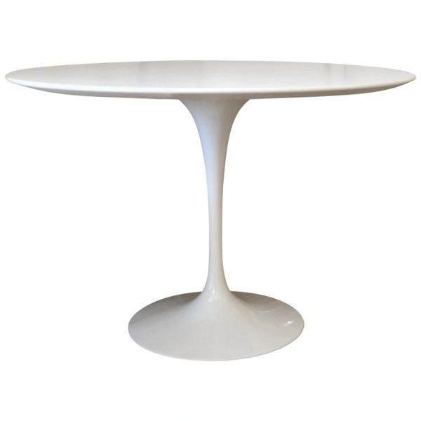 Original Eero Saarinen Round Antique White Laminated Tulip Dining Table Knoll