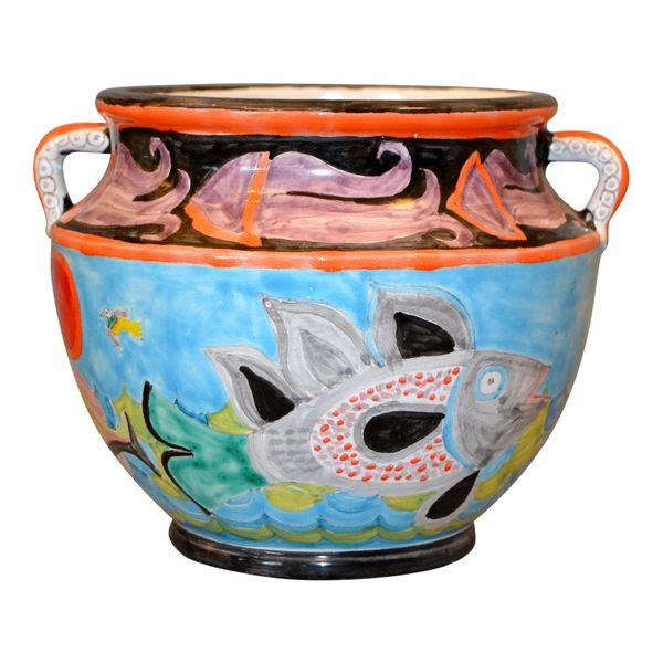 Italian Giovanni Desimone Hand Painted Art Pottery Bowl Handles Octopus Italy