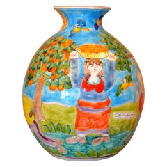 Italian Giovanni Desimone Hand Painted Big Art Pottery Orange Picking Vase