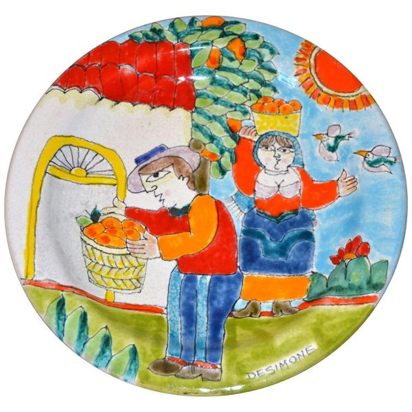 Italian Desimone Hand Painted Pottery Round Decor Plate Orange Picking Italy