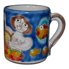 Giovanni Desimone Hand Painted Art Pottery Decor Mug, Cup Mermaid & Harp Italy