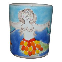 Italian Giovanni Desimone Hand Painted Art Pottery Decor Mug, Cup Mermaid Ocean